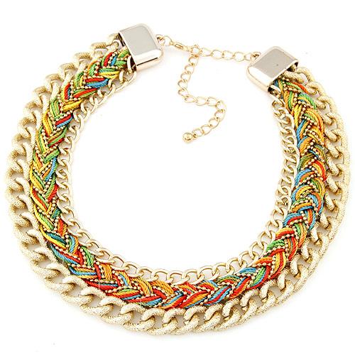 Сеть Тканые ожерелье, цинковый сплав, с Нейлоновый шнурок, плакирован золотом, не содержит свинец и кадмий, 32mm, Продан через Приблизительно 15.75 дюймовый Strand