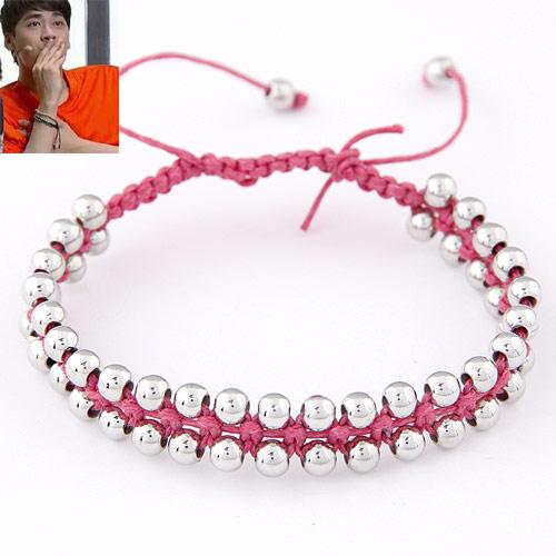Пластик с медным покрытием Шамбала-браслет, с Нейлоновый шнурок, регулируемый, ярко-розовые красный, 10mm, Продан через Приблизительно 7 дюймовый Strand