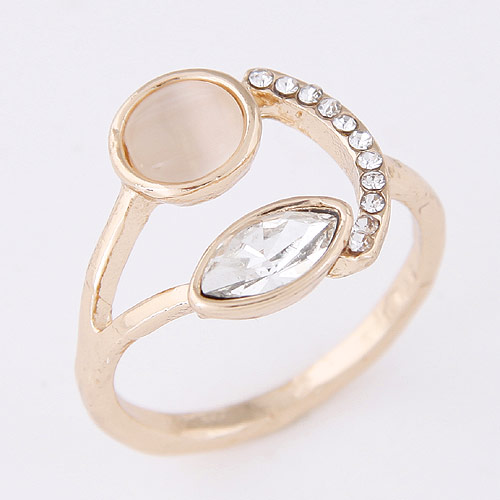 Cats Eye Finger Ring Zinc Alloy with Cats Eye   Rhinestone rose gold color plated lead   cadmium free 8mm US Ring Size:6.5
