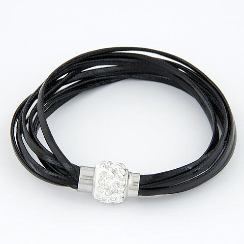 Моды создать воск шнур браслеты, Вощеная Конопля шнура, с Кристаллы, цинковый сплав замок магнитный, Платиновое покрытие платиновым цвет, черный, 180x13mm, Продан через Приблизительно 7.09 дюймовый Strand