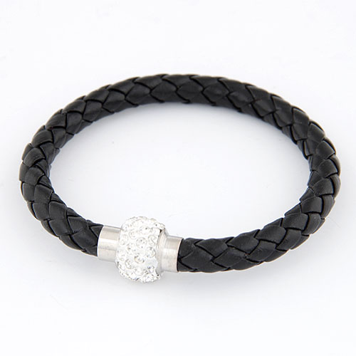 PU leder koord armbanden, Zinc Alloy, met PU, platinum plated, zwart, lood en cadmium vrij, 200x13mm, Per verkocht Ca 7.87 inch Strand
