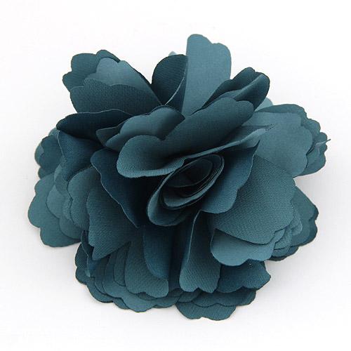 Цветок волос клип Брошь, цинковый сплав, с ткань, Форма цветка, Платиновое покрытие платиновым цвет, зеленый, не содержит свинец и кадмий, 72mm, продается PC