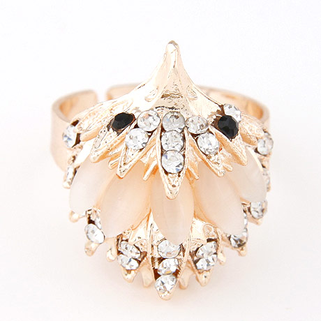 Cats Eye Finger Ring Zinc Alloy with Cats Eye gold color plated with rhinestone beige lead   cadmium free 23x20mm US Ring Size:6-9
