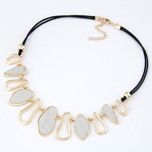 Zinc Alloy Jewelry Necklace, with glitter leather, gold color plated, colorful powder, lead & cadmium free, 400x180x32mm, Sold Per Approx 15.75 Inch Strand
