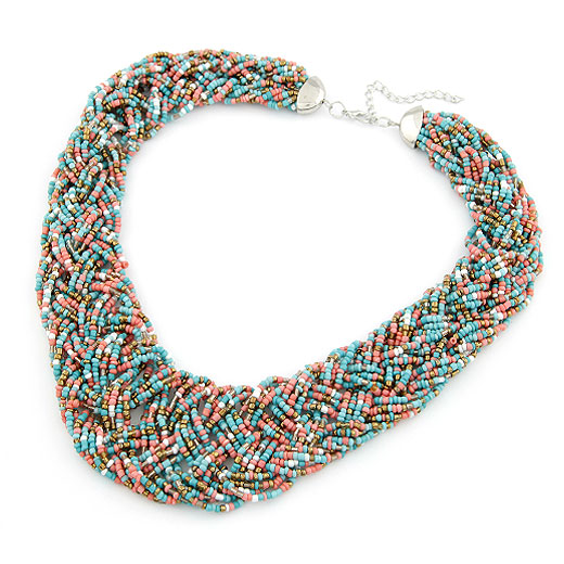 Glass Seed Beads Necklace, Zinc Alloy, with Glass Seed Beads, platinum color plated, kumihimo, multi-colored, lead & cadmium free, 400x36mm, Sold Per Approx 15.75 Inch Strand
