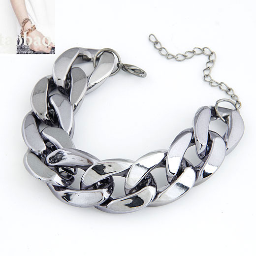 Zinc Alloy Bracelet with 5cm extender chain plumbum black color plated twist oval chain lead   cadmium free 175x20mm Sold Per Approx 6.89 Inch Strand
