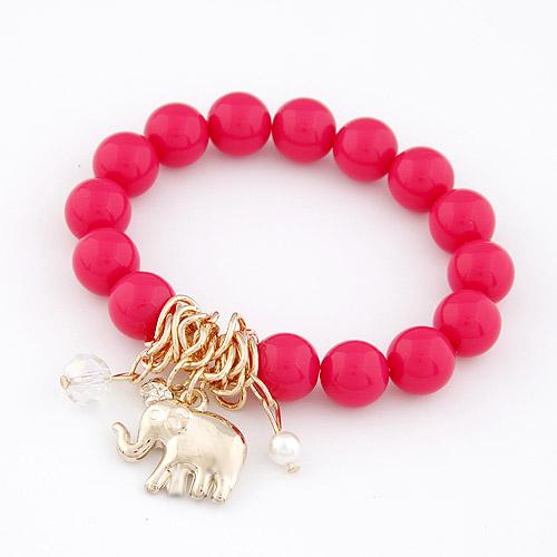 Акриловые браслеты, цинковый сплав, с Акрил, Слон, браслет-оберег, ярко-розовые красный, не содержит свинец и кадмий, 175x10mm, длина:Приблизительно 6.89 дюймовый, продается PC