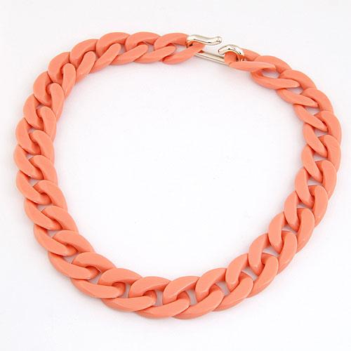CCB Ожерелья, Пластик с медным покрытием, твист овал, красно-оранжевый, 420x20mm, Продан через Приблизительно 16.54 дюймовый Strand