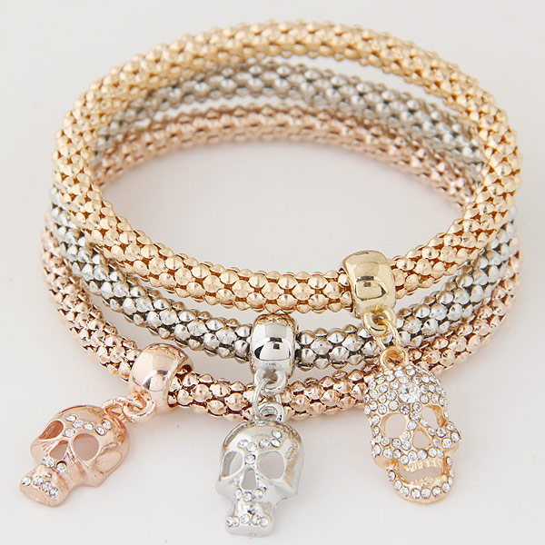 Zinc Alloy Bracelet with Iron Skull plated with rhinestone lead   cadmium free 175mm Length:Approx 6.89 Inch 3Strands/Set