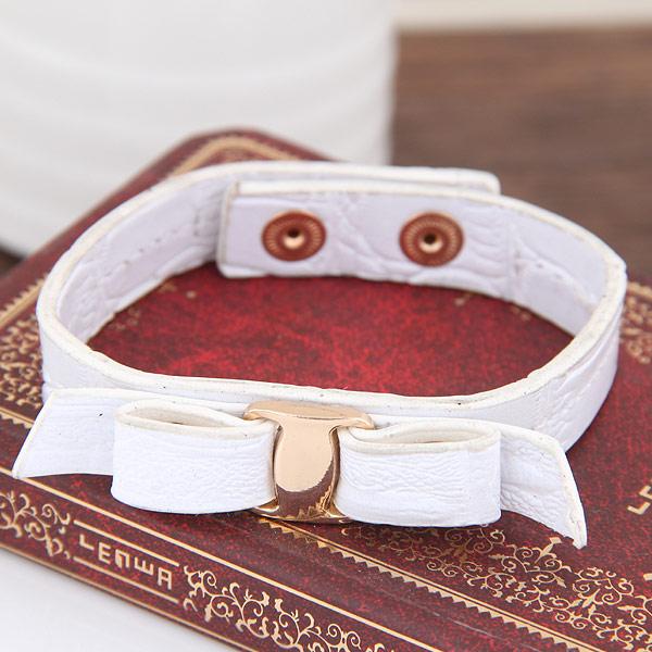 ПУ шнур браслеты, цинковый сплав, с Искусственная кожа, плакирован золотом, Женский, белый, не содержит свинец и кадмий, 10mm, Продан через Приблизительно 6.89 дюймовый Strand