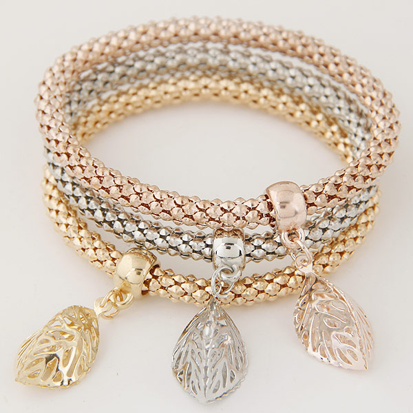 Zinc Alloy Bracelet with Iron Leaf plated with rhinestone lead   cadmium free 175mm Length:Approx 6.89 Inch 3Strands/Set