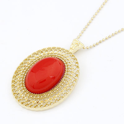 Zinc Alloy Sweater Chain Necklace, with Resin, Flat Oval, gold color plated, ball chain, red, lead & cadmium free, 680x50x34mm, Sold Per Approx 26.77 Inch Strand