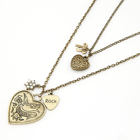 Fashion Multi Layer Necklace, Zinc Alloy, Heart, antique bronze color plated, oval chain & 2-strand, lead & cadmium free, 500x18x34mm, Sold Per Approx 19.69 Inch Strand