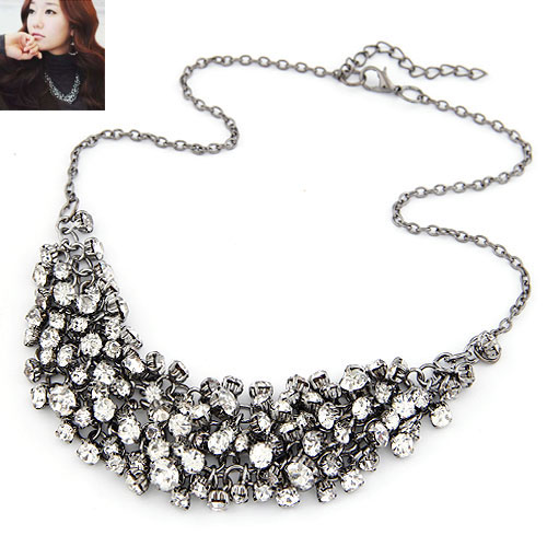 Zinc Alloy Jewelry Necklace, plumbum black color plated, oval chain & with rhinestone, lead & cadmium free, 460x30mm, Sold Per Approx 18.11 Inch Strand