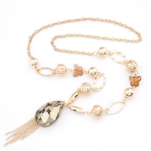 Zinc Alloy Sweater Chain Necklace with Glass Tassel gold color plated lead   cadmium free 700x93x20mm Sold Per Approx 27.56 Inch Strand