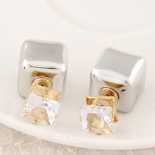 Zinc Alloy Split Earring, with Acrylic, Cube, gold color plated, grey, lead & cadmium free, 13x8mm, Sold By Pair