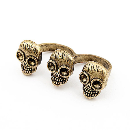 Zinc Alloy Double Finger Ring, Skull, antique bronze color plated, lead & cadmium free, 18mm, US Ring Size:6-9, Sold By PC