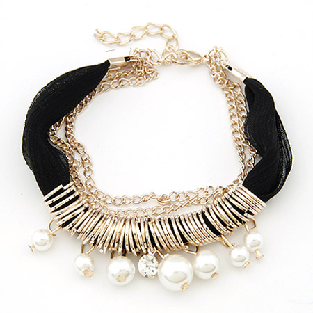 Buy Zinc Alloy Bracelet ABS Plastic Pearl & Cloth 5cm extender chain gold color plated black lead & cadmium free 195mm Sold Per Approx 7.68 Inch Strand