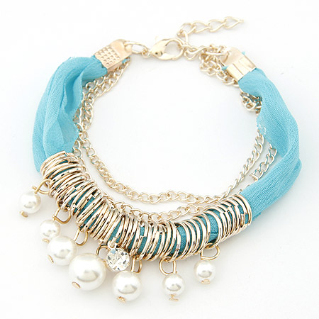 Buy Zinc Alloy Bracelet ABS Plastic Pearl & Cloth 5cm extender chain gold color plated blue lead & cadmium free 195mm Sold Per Approx 7.68 Inch Strand