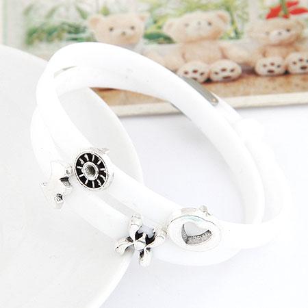 Силиконовые браслеты, цинковый сплав, с Силикон, плакированный цветом под старое серебро, белый, не содержит свинец и кадмий, 370x8x5mm, Продан через Приблизительно 14.57 дюймовый Strand