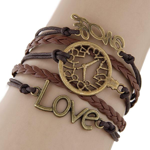 Комбинированный браслет, цинковый сплав, часы & любовь, с Искусственная кожа, с 5cm наполнитель цепи, слова любви, Покрытие под бронзу старую, 5-стренги, не содержит свинец и кадмий, 180x22mm, Продан через 7.09 дюймовый Strand