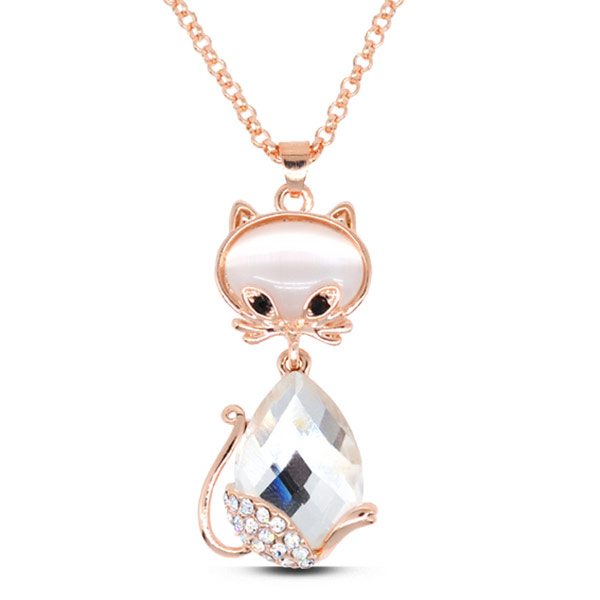 Buy Zinc Alloy Jewelry Necklace Cats Eye & Crystal Cat rose gold color plated faceted clear lead & cadmium free 450x37x18mm Sold Per Approx 17.72 Inch Strand
