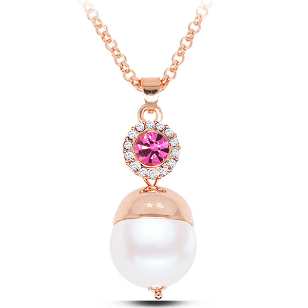 Buy Zinc Alloy Jewelry Necklace ABS Plastic Pearl rose gold color plated bright rosy red lead & cadmium free 450x38x18mm Sold Per Approx 17.72 Inch Strand