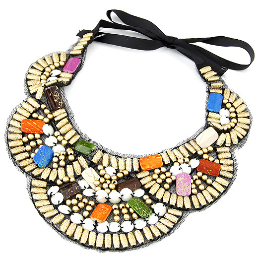 Resin Necklace, with Ribbon, Flower, multi-colored, 600x80mm, Sold Per Approx 23.62 Inch Strand