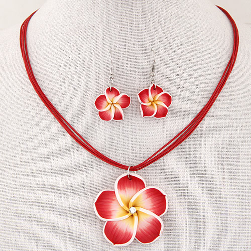 Polymer Clay Jewelry Set, earring & necklace, with Waxed Nylon Cord, Flower, handmade, red, 40mm, 43x20mm, Length:Approx 15.5 Inch, Sold By Set