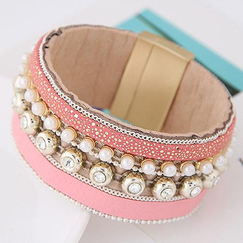 Утолить браслет, цинковый сплав, с Искусственная кожа & ABS-пластик, плакирован золотом, розовый, 175x30mm, длина:Приблизительно 6.89 дюймовый, продается PC
