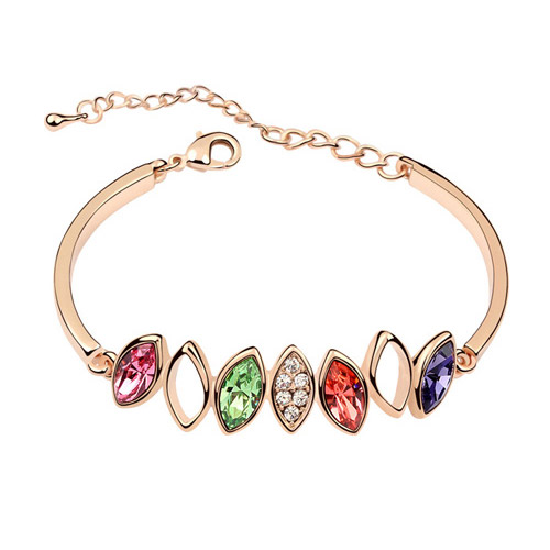 Austrian Crystal Bracelet, Zinc Alloy, with Austrian Crystal, Horse Eye, real gold plated, lead & cadmium free, 160x51x7mm, Sold Per Approx 6.3 Inch Strand