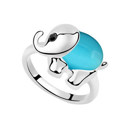 Cats Eye Finger Ring Zinc Alloy with Cats Eye Elephant platinum color plated lead   cadmium free 27x19mm US Ring Size:6-9