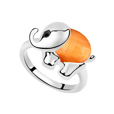 Cats Eye Finger Ring Zinc Alloy with Cats Eye Elephant platinum plated lead   cadmium free 27x19mm US Ring Size:6.5