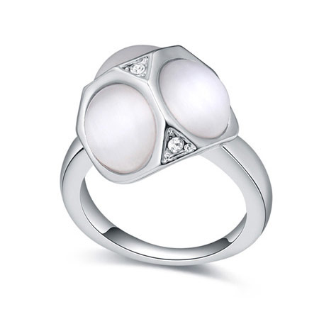 Cats Eye Finger Ring Zinc Alloy with Cats Eye   Crystal platinum color plated white lead   cadmium free 16-19mm US Ring Size:6-9