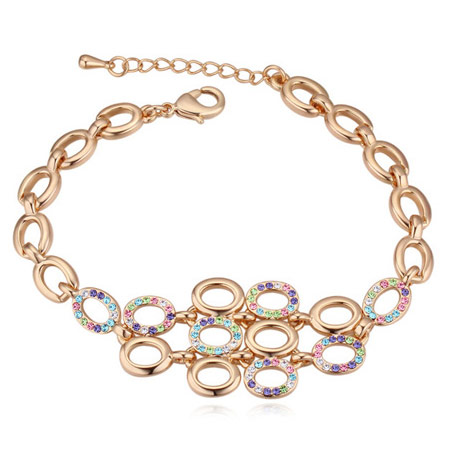 Austrian Crystal Bracelet, Zinc Alloy, with iron chain, real gold plated, with Austria rhinestone, lead & cadmium free, 160mm, Sold Per Approx 6.3 Inch Strand