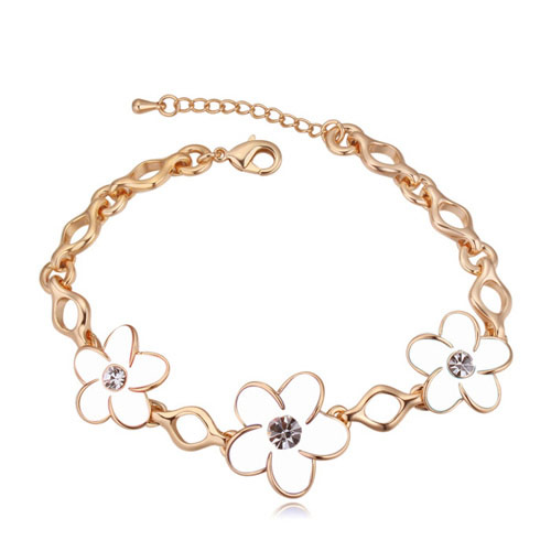 Zinc Alloy Bracelet, real gold plated, with Austria rhinestone & enamel, lead & cadmium free, 160mm, Sold Per Approx 6.3 Inch Strand