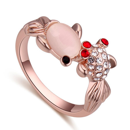 Cats Eye Finger Ring Zinc Alloy with Cats Eye rose gold color plated with rhinestone lead   cadmium free 20mm US Ring Size:6-10