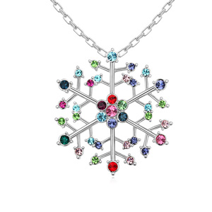 Austrian Crystal Necklace, Zinc Alloy, Snowflake, platinum plated, with Austria rhinestone, lead & cadmium free, 46x46x450mm, Sold Per Approx 17.5 Inch Strand