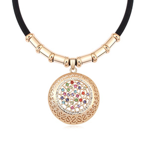 Austrian Crystal Necklace, Zinc Alloy, with PU, Flat Round, real gold plated, with Austria rhinestone, dark brown, lead & cadmium free, 46x46x450mm, Sold Per Approx 17.5 Inch Strand