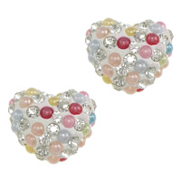 Half Drilled Rhinestone Beads, Clay Pave, with Resin Pearl, Heart, with 70 pcs rhinestone & half-drilled, 14x12x8mm, Hole:Approx 0.8mm, 30PCs/Lot, Sold By Lot