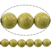 Bone Fossil Beads, Round, tea green, 10mm, Length:Approx 16 Inch, 10Strands/Lot, Approx 39PCs/Strand, Sold By Lot