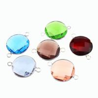 Коннектеры из стекла, Латунь, с Стеклянный, Плоская круглая форма, плакирован серебром, граненый & 1/1 петля, разноцветный, не содержит никель, свинец, 28x20x7mm, отверстие:Приблизительно 2mm, 20ПК/Лот, продается Лот