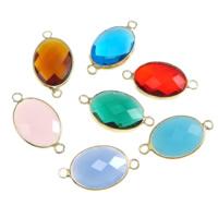 Коннектеры из стекла, Латунь, с Стеклянный, Плоская овальная форма, плакирован золотом, граненый & 1/1 петля, разноцветный, не содержит никель, свинец, 18x13x6mm, отверстие:Приблизительно 2mm, 20ПК/Лот, продается Лот
