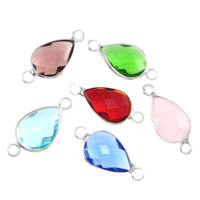 Коннектеры из стекла, Латунь, с Стеклянный, Каплевидная форма, плакирован серебром, граненый & 1/1 петля, разноцветный, не содержит никель, свинец, 10x14x4mm, отверстие:Приблизительно 2mm, 20ПК/Лот, продается Лот