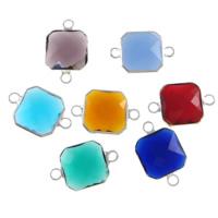 Коннектеры из стекла, Латунь, с Стеклянный, Квадратная форма, плакирован серебром, граненый & 1/1 петля, разноцветный, не содержит никель, свинец, 12x12x5mm, отверстие:Приблизительно 2mm, 20ПК/Лот, продается Лот