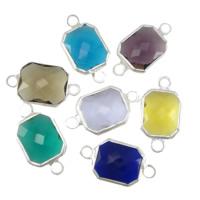 Коннектеры из стекла, Латунь, с Стеклянный, Прямоугольная форма, плакирован серебром, граненый & 1/1 петля, разноцветный, не содержит никель, свинец, 10x12x5mm, отверстие:Приблизительно 2mm, 20ПК/Лот, продается Лот