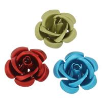 Aluminium bloem kralen, geschilderd, verschillende grootte voor keus & mat, gemengde kleuren, nikkel, lood en cadmium vrij, Gat:Ca 1mm, 1000pC's/Bag, Verkocht door Bag