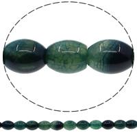 Natuurlijke Crackle Agaat parels, Ovaal, groen, 12x16mm, Gat:Ca 1mm, Lengte:Ca 15 inch, 10strengen/Lot, Ca 25pC's/Strand, Verkocht door Lot