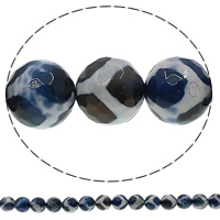 Natural Tibetan Agate Dzi Beads, Round, faceted, 10mm, Hole:Approx 1mm, Length:Approx 15 Inch, 10Strands/Lot, Approx 38PCs/Strand, Sold By Lot