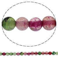 Natuurlijke Crackle Agaat parels, Ronde, verschillende grootte voor keus, Gat:Ca 1mm, Lengte:Ca 15 inch, Verkocht door Lot